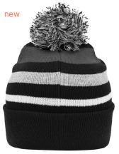 Striped Winter Beanie with Pompon